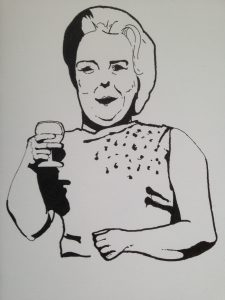 Elliott Flanagan, Where have all the angry young men gone?, detail (2016). Image courtesy of artist. Illustration of a woman holding a wine glass.