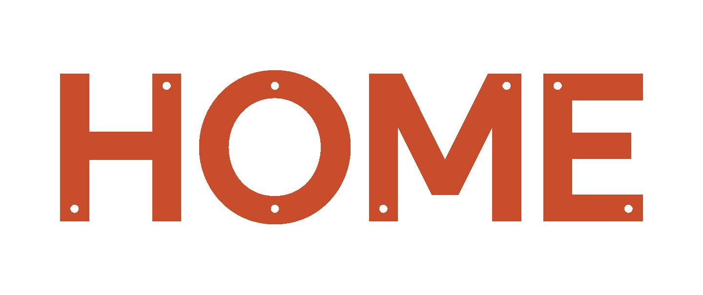 Logo for HOME: word HOME in orange with white background