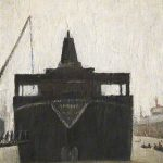 L.S. Lowry painting of a ship on the Tyne. In front of the ship is a long rowing boat full of people.