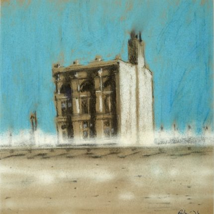 Chalk pastel image of a three storey building. The back ground is light blue with the building a mixture of white, grey, black and brown. In the foreground there is a faint impression of a railway line.
