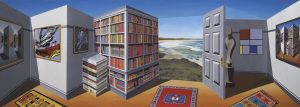 An optical illusion painting, featuring a wall of books, a wall of paintings, a door and a beach in the background.
