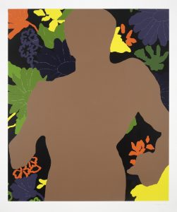 Dark silhouette, derived from an athletic statue of Mussolini, on a background of vibrant flowers.