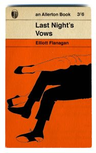 Mock-up Penguin book. Main picture has orange background then in the foreground is the black silhouette of a man's legs with a woman's legs, outlined in a black line, on top. The title of the book is Last Night's Vows.
