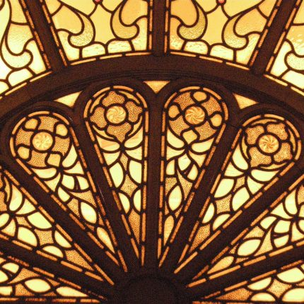 Detail of stained glass fanlight window at Peel Buidling Univesity of Salford