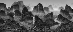 Black and white photography of mountains and waterfalls.