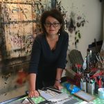 Photograph of artist Mandy Payne in an artist's studio