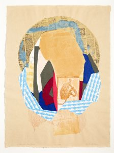 A collage of a twenty layered screenprint, include newspaper clippings, netting from a bag of oranges and an part of an envelope.