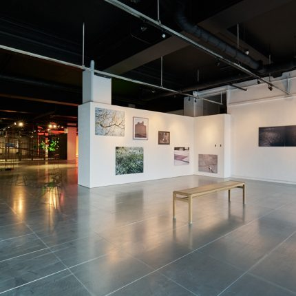Photograph of gallery space. White walls with photographs on and a bench is positioned in the foreground.