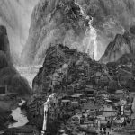 Black and white still from a video depicting mountains, which on closer inspection are made up of buildings.