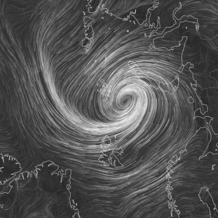 Black and white image that appears to be depicting a tornado on a map.