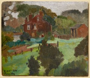 a small oil painting by artist adolphe valette. The image depicts a peaceful rural landscape scene with green fields, trees, and a brick building.