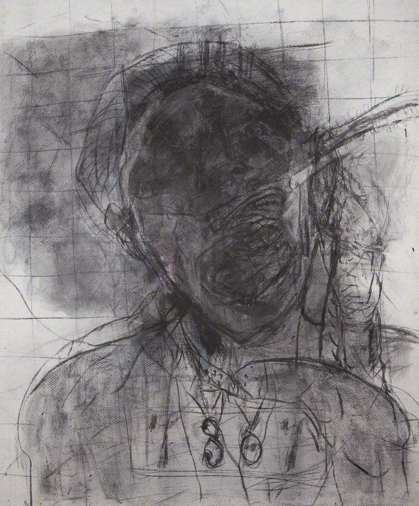 A large black and grey drawing on paper. The head and shoulders of a figure appear, drawn over multiple times so that the features are quite obscured. The drawing, made in charcoal and oil, is part of the artists series about political oppression. Despite the title, the figure appears in pain or discomfort.