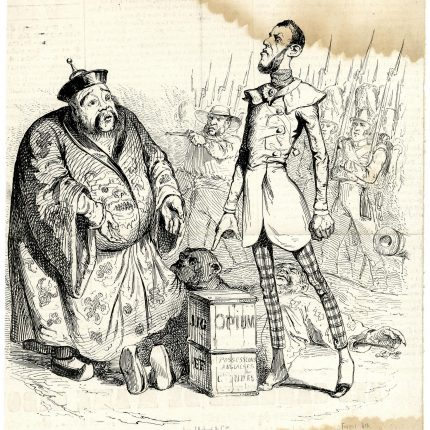 Satire. A historic lithograph showing a Chinese man confronted by an Englishman, who points at a box of 'opium'. Troops are in the background
